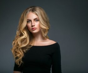 Stock Photo Beautiful girl with blond curly long hair 09