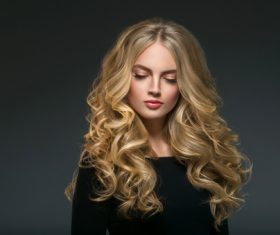 Stock Photo Beautiful girl with blond curly long hair 10