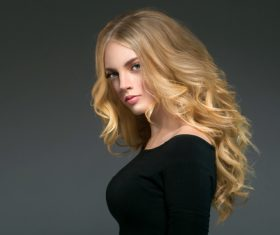 Stock Photo Beautiful girl with blond curly long hair 11
