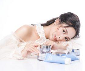 Stock Photo Beautiful woman and cosmetics