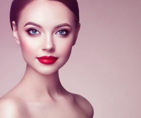 Stock Photo Beautiful woman face with perfect makeup 01