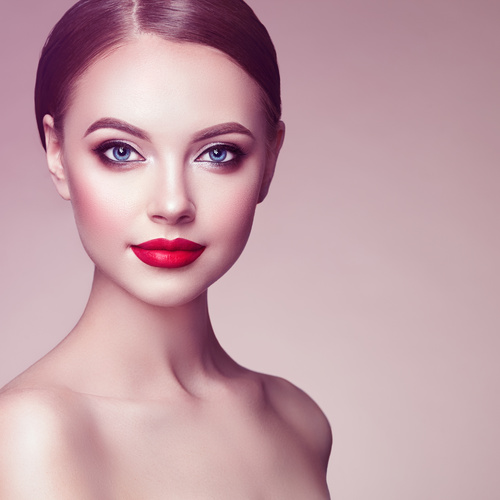 Stock Photo Beautiful Woman Face With Perfect Makeup 01 -5540