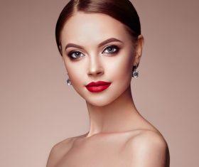 Stock Photo Beautiful woman face with perfect makeup 02
