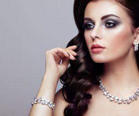 Stock Photo Beautiful woman face with perfect makeup 08