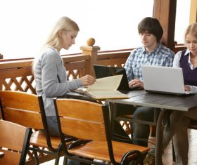 Stock Photo College students studying together 01