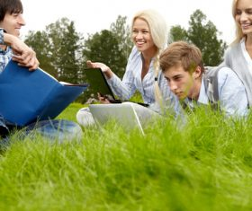Stock Photo College students studying together 03