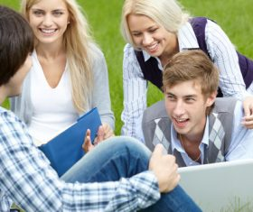 Stock Photo College students studying together 04