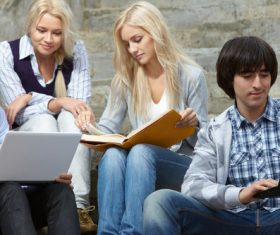 Stock Photo College students studying together 07