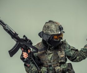 Stock Photo Dressed in camouflage special forces