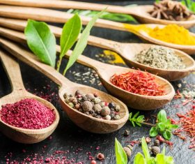 Stock Photo Fragrant spices and seasonings on wooden spoons 04