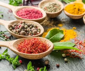 Stock Photo Fragrant spices and seasonings on wooden spoons 10