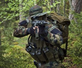 Stock Photo Fully armed soldier