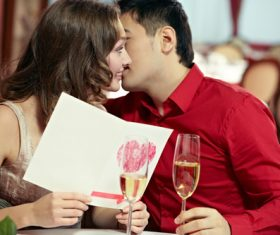Stock Photo Greeting card kiss very intimate Lovers