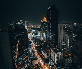Stock Photo High angle shot night city lights