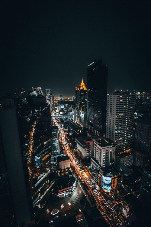 Stock Photo High angle shot night city lights