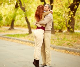 Stock Photo Very intimate couple on the street