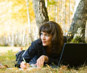 Stock Photo Woman studying in the park 01
