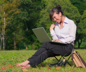 Stock Photo Woman studying in the park 02
