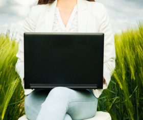 Stock Photo Woman using notebook in wheat field 02