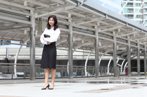 Stock Photo Woman waiting for the bus
