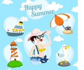Summer vacation element vector material