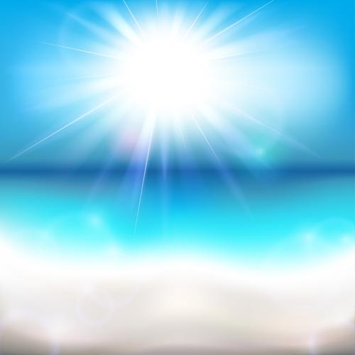 Sun shining over the ocean vector background