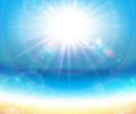 Sunshine with Sea vector background 01
