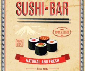 Sushi bar poster vintage vector 01