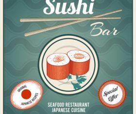 Sushi bar poster vintage vector 02