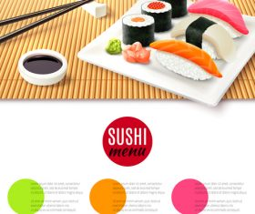 Sushi menu design vector set 01