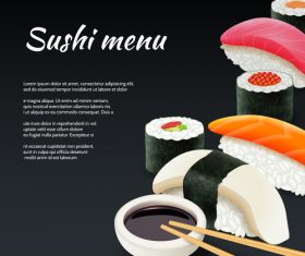Sushi menu design vector set 02