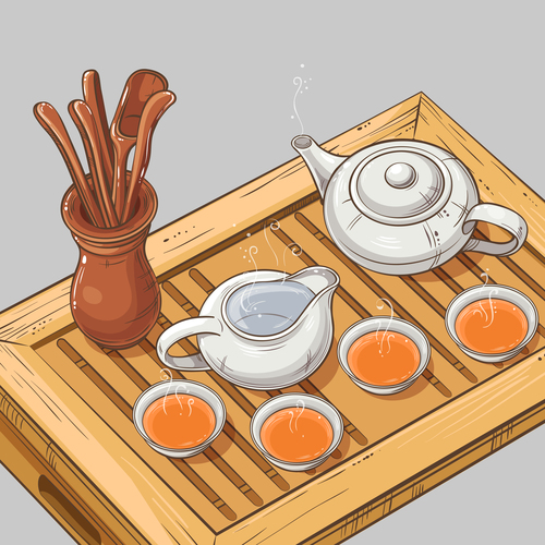 Tea Table chinese style vector