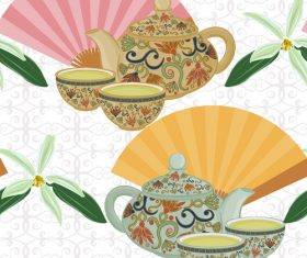Tea with ethnic styles design vector