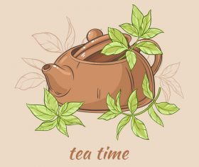 Teapot brown with tea leaves vector
