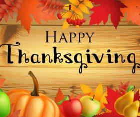 Thanksgiving festvial design with wooden background vector
