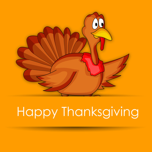 Thanksgiving orange background with funny chick vector