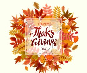 Thanksgiving with autumn leaves vector background 01