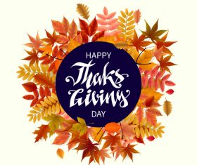 Thanksgiving with autumn leaves vector background 02