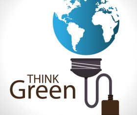 Think green earth business template vector 01