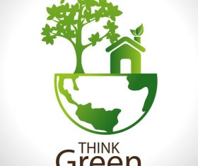 Think green earth business template vector 02