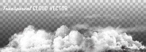 Transparent clouds panorama vector illustration 02