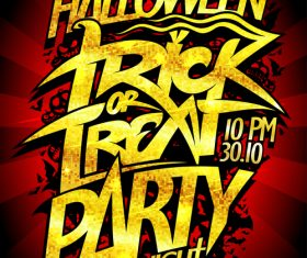 Trick or Treat Halloween Party Poster red rays vector