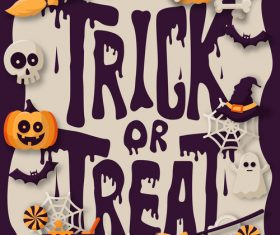 Trick or treat halloween background design vector 02