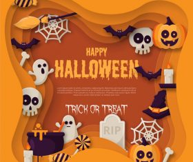 Trick or treat halloween background design vector 03