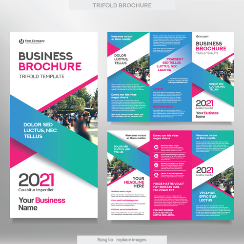 Printable Travel Brochure Template For Kids: Trifold Brochure Business Tamplate Vector 03 Free Download