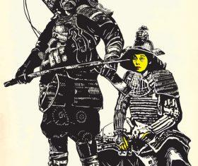 Two shoguns hand drawn vector