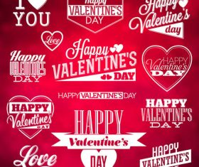 Valentines day label design vector material