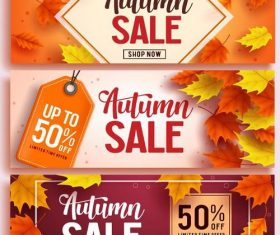Vector autumn sale banners material 01