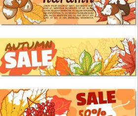 Vector autumn sale banners material 02