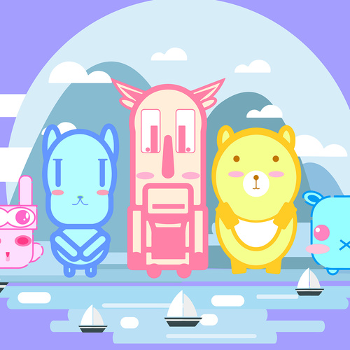 Vector cartoon animal friends